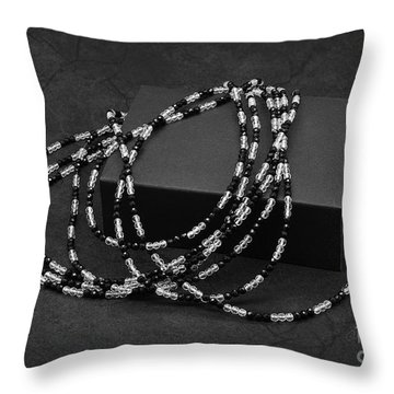 Black And White Beads Throw Pillow
