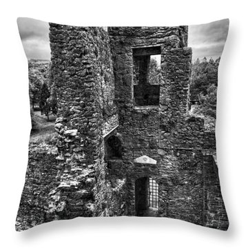 Black And White Castle Throw Pillow