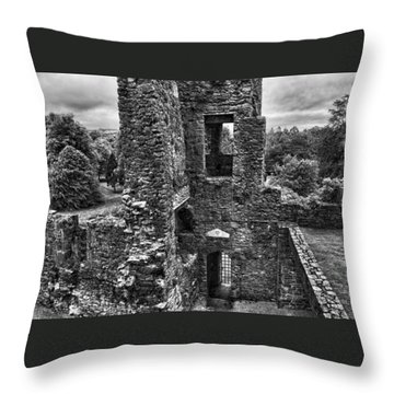 Black And White Castle Throw Pillow