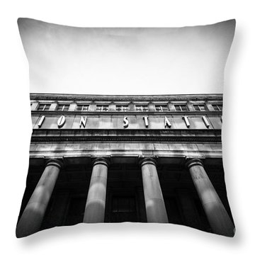 Black And White Chicago Union Station Throw Pillow by Paul Velgos