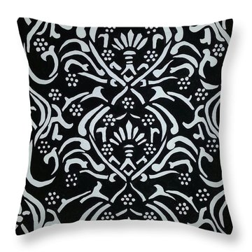 Black And White Classic Damask Throw Pillow by Debra Acevedo