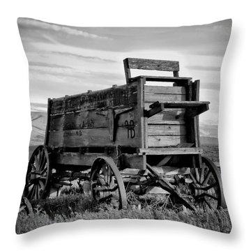 Black And White Covered Wagon Throw Pillow by Athena Mckinzie