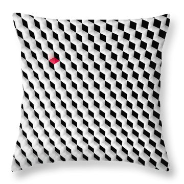 Black And White Cubes With One Red Cube. Throw Pillow