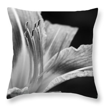 Black And White Daylily Flower Throw Pillow