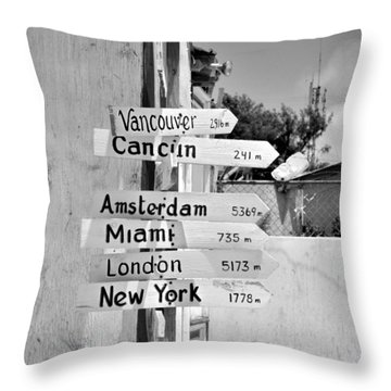Black And White Directional Sign Throw Pillow