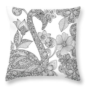 Black And White Flamingo Throw Pillow by Valentina Harper