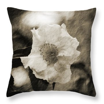 Black And White Flower With Texture Throw Pillow