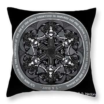 Black And White Gothic Celtic Mermaids Throw Pillow