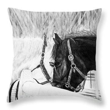 Black And White Horses Art Print Throw Pillow