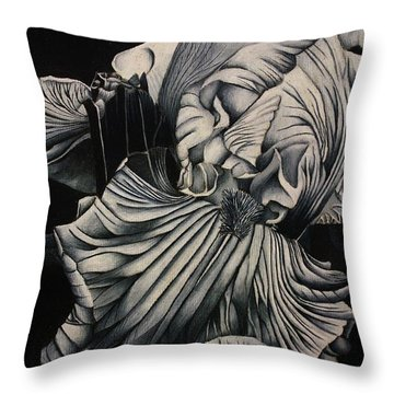 Black And White Iris Study Throw Pillow