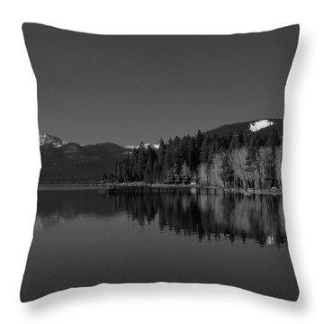 Black And White Lake Tahoe Reflection Throw Pillow