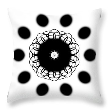 Black And White Mandala Art By Saribelle Rodriguez Throw Pillow by Saribelle Rodriguez