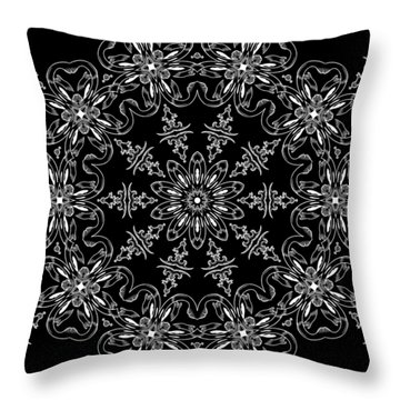 Black And White Medallion 11 Throw Pillow by Angelina Vick