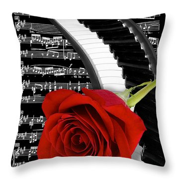 Black And White Music Collage Throw Pillow by Phyllis Denton