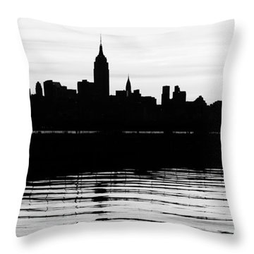 Throw Pillow featuring the photograph Black And White Nyc Morning Reflections by Lilliana Mendez
