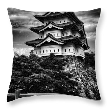 Black And White Of Hirosaki Castle In Japan Throw Pillow