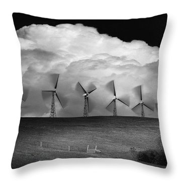 Black And White Of Wind Generators With Throw Pillow by Don Hammond