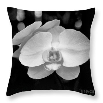Black And White Orchid With Lights - Square Throw Pillow by Heather Kirk