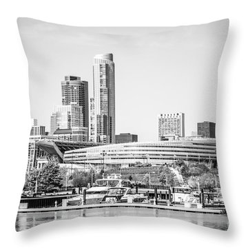 Black And White Picture Of Chicago Skyline Throw Pillow by Paul Velgos