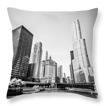 Black And White Picture Of Downtown Chicago Throw Pillow by Paul Velgos