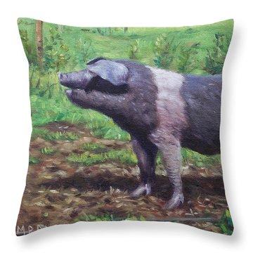 Black And White Pig On Farm Throw Pillow