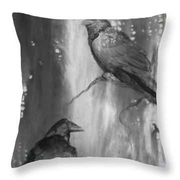 Black And White Ravens Throw Pillow