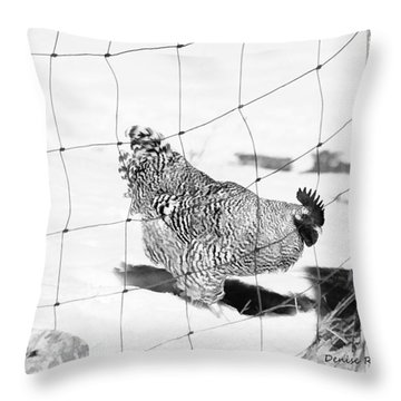 Black And White Rooster Throw Pillow by Denise Romano