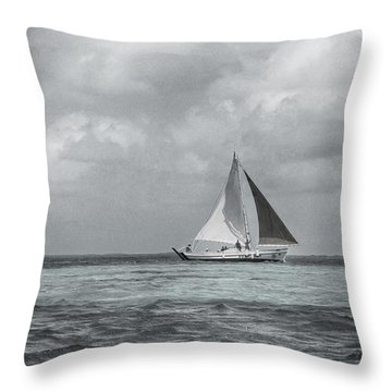 Black And White Sail Boat Throw Pillow by Kristina Deane