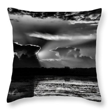Black And White Sunset Over The Mead Wildlife Area Throw Pillow