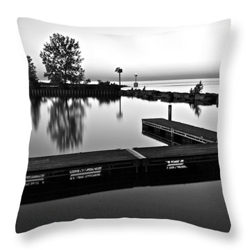 Black And White Sunset Throw Pillow by Frozen in Time Fine Art Photography
