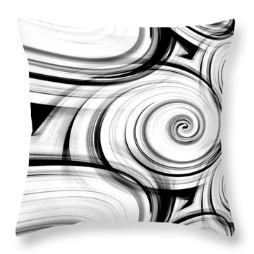 Throw Pillow featuring the digital art Black And White Swirls Art By Saribelle Rodriguez by Saribelle Rodriguez