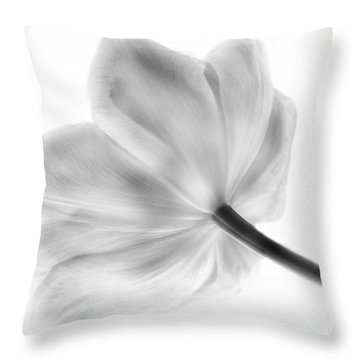 Black And White Tulip Throw Pillow by Arlene Carmel