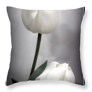 Black And White Tulips  Throw Pillow