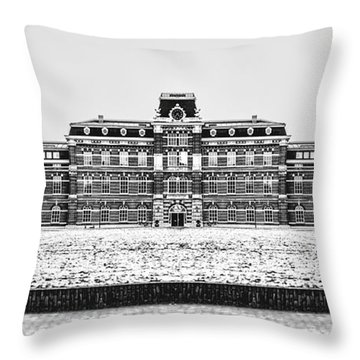 Black And White Version Of Ripperda Kazerne - Haarlem - The Netherlands Throw Pillow