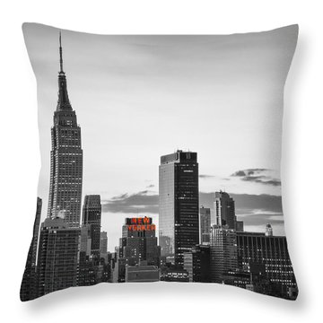 Black And White Version Of The New York City Skyline With Empire Throw Pillow