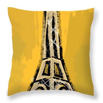 Black And Yellow Eiffel Tower Paris Throw Pillow
