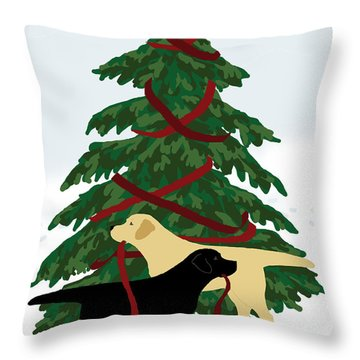 Black And Yellow Labs Trim Christmas Tree Throw Pillow