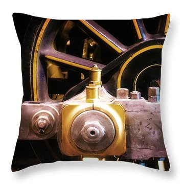 Black And Yellow Loco Wheel Throw Pillow by Joseph J Stevens