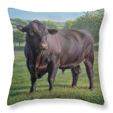 Black Angus Bull 2 Throw Pillow by Hans Droog
