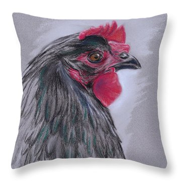 Black Australorp Hen Throw Pillow