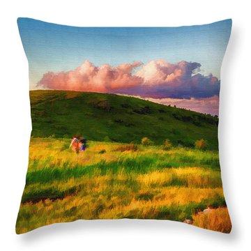 Black Balsam Hikers Throw Pillow by John Haldane