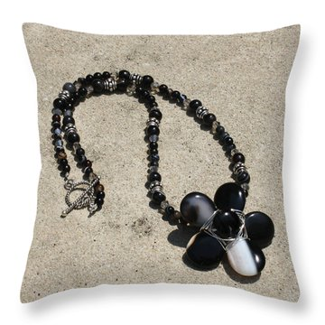 Black Banded Onyx Wire Wrapped Flower Pendant Necklace 3634 Throw Pillow by Teresa Mucha