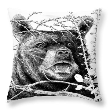 Black Bear Boar Throw Pillow