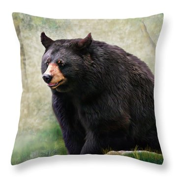 Throw Pillow featuring the painting Black Bear by Mary Almond