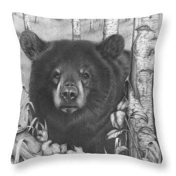 Black Bear On Newsome Creek Throw Pillow
