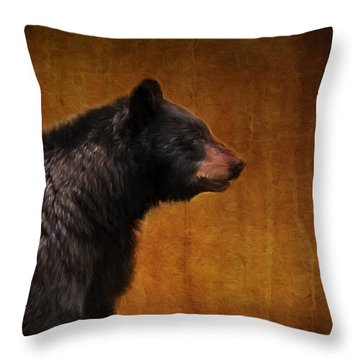 Black Bear Portrait Painterly Throw Pillow