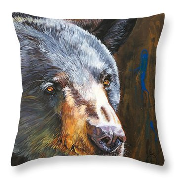 Black Bear The Messenger Throw Pillow