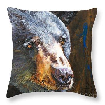 Black Bear The Messenger Throw Pillow