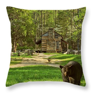Black Bear Wandering II Throw Pillow