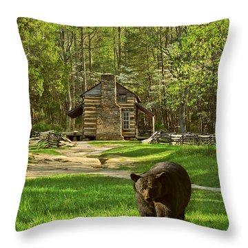 Black Bear Wandering II Throw Pillow